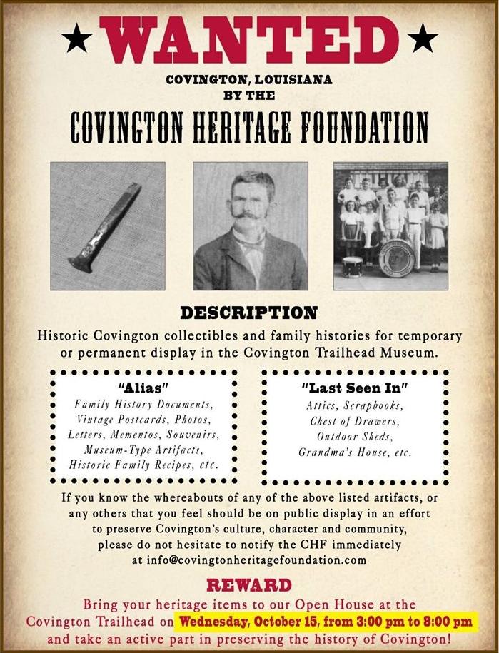 Covington Heritage Foundation WANTED